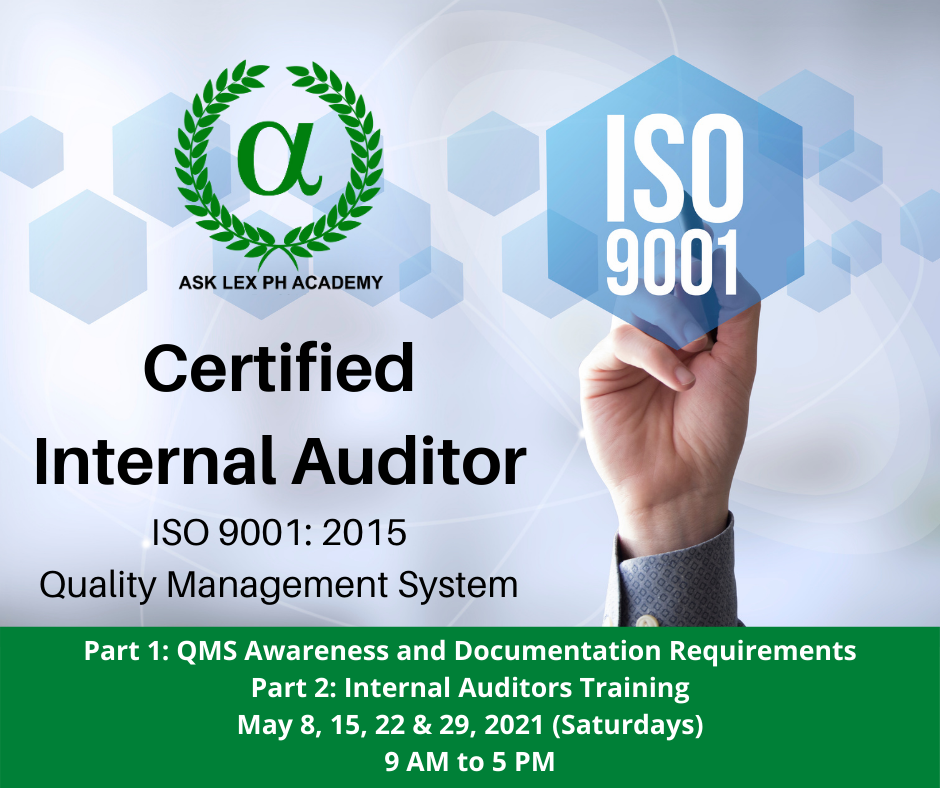 Certified Internal Auditor for ISO 9001: 2015 QMS